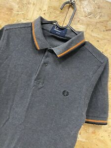 Pour-homme-FRED-PERRY-TWIN-TIPPED-Pique-Polo-Shirt-Taille-S-S-Gris-Orange