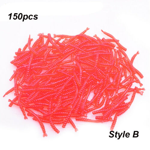 Thin Red Bait Worms Earthworm Plastic Fishing Fake Artificial Tackle Lures UK