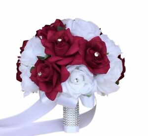 10-034-White-and-Apple-Wedding-Bridal-Bouquet-Quality-Keepsake-Artificial-Roses