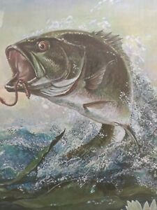 Bass Fishing Art Ralph J Mcdonald R J Vintage Limited Edition Lithograph Ebay