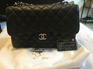 9f70d46098e2 BNWT! Chanel 2.55 Classic Black Caviar Jumbo Double Flap Bag Silver ...