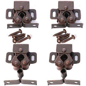 10 x DOUBLE ROLLER CATCH SETS+SCREWS ANTIQUE BRASS Cabinet Latch Lock Caravan