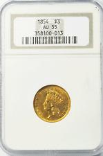 1854 $3 Indian Head Princess Gold Three Dollar Coin Rare NGC AU55