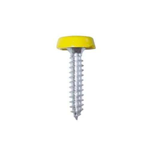 Pearl Consumables Number Plate Plastic Top Screws - Yellow - Pack Of 50