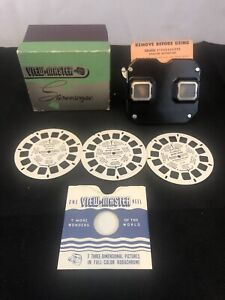 Sawyers Bakelight VIEWMASTER STEREOSCOPE With Box & x3 Disney Reels- Vintage