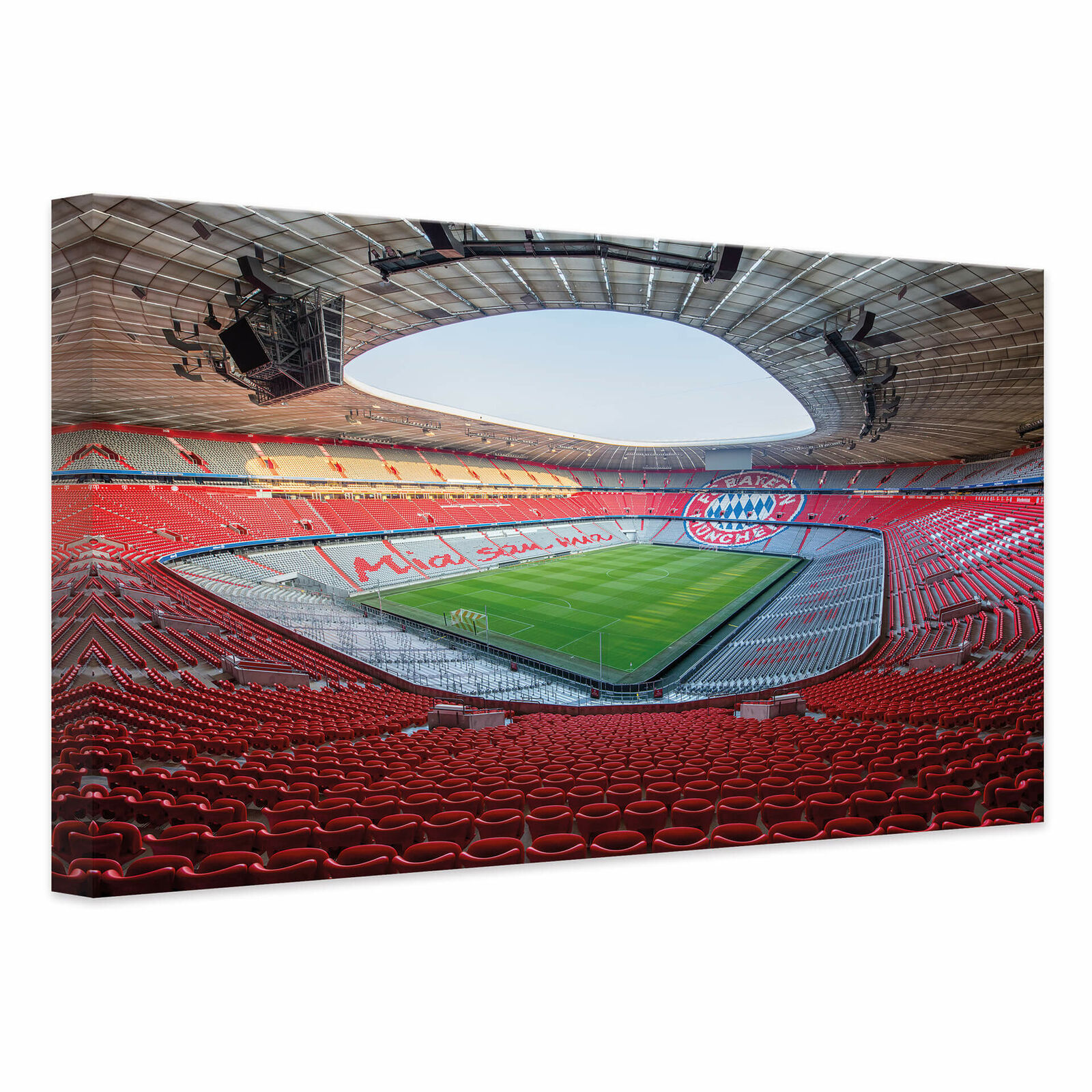 Leinwandbild FCB Stadion Mia san mia ALLIANZ ARENA FC BAYERN MÜNCHEN FANARTIKEL  | Erste Kunden Eine Vollständige Palette Von Spezifikationen
