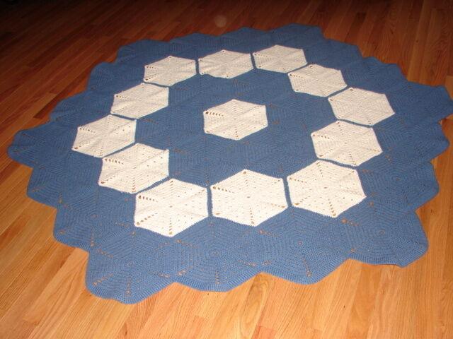 Handcrafted Handmade Round Hexagon Crochet Afghan Throw Blanket  Acrylic, bluee