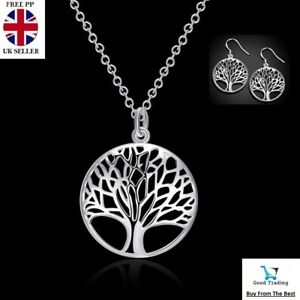 Women-039-s-925-Sterling-Silver-Tree-of-Life-Necklace-Pendant-Earrings-Charm-Set-UK