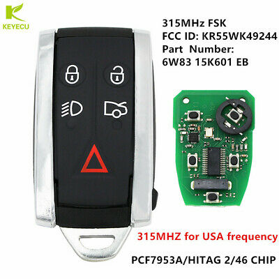KR55WK49244 XKR For 07-15 Jaguar XF XK8 XK Keyless Entry Remote Smart Key W//Insert KR55WK45694