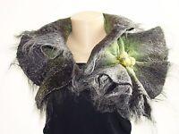 Grey & Green Nuno Felted Wool Scarf Alpaca And Silk Scarf