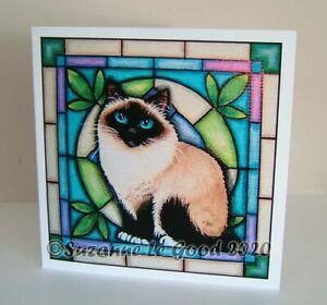 Birman cat art birthday greetings card from original painting Suzanne Le Good