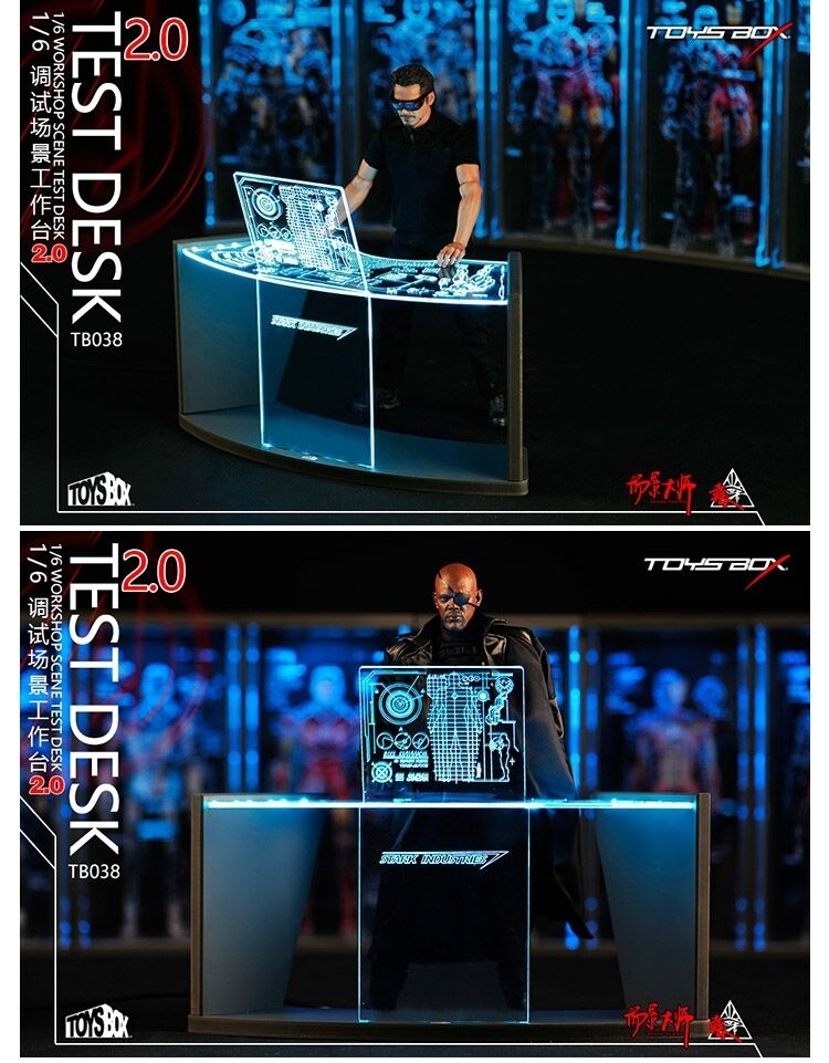 TOYS BOX 1 6 Iron Man Workshop Scene Test Desk 2.0 For 12  Science Model Figure
