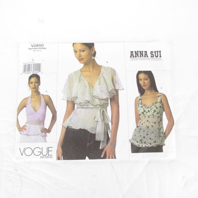 ee8e11c086 Vogue Pattern 2850 Anna Sui DESIGNER Empire Waist Tops Misses Sz 12 ...