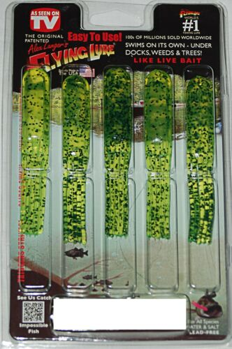 4/'/' Chartreuse Pepper Alex Langer/'s Flying Lure Clam Pack 5 Lures and 1 Hook