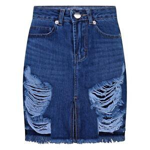 REAL-HOXTON-Ripped-Womens-Denim-Skirt-Frayed-Hem-Vintage-Look-Distressed-Skirt