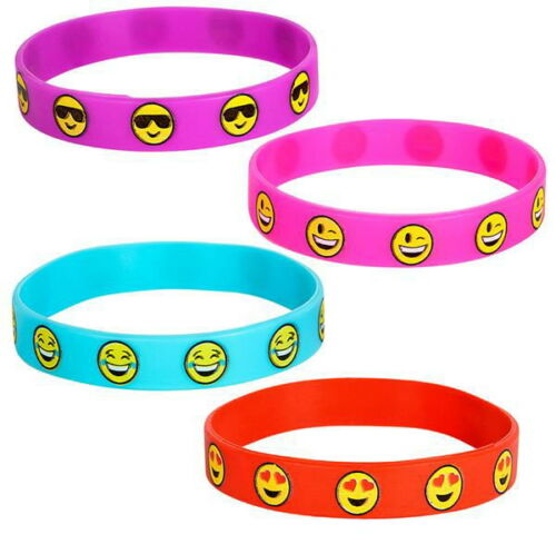24 EMOJI BRACELETS RUBBER SILICONE EMOTICON CARNIVAL GOODY BAGS PRIZES PARTY