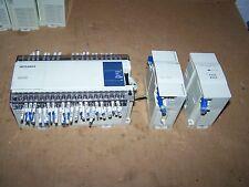 MITSUBISHI MELSEC FX1N-60MR PROGRAMMABLE CONTROL W/ FX2N-8EYR & FX2N-16EX