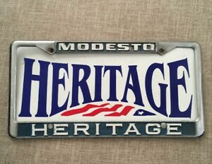 Ford Dealership Modesto >> Details About Modesto Heritage Ford Embossed Dealership License Plate Frame Metal Holder Rare