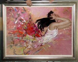 "Original Oil Painting female art lmpressional girl on canvas 30""x40"""