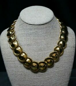 Vintage-Monet-Gold-Tone-Disc-Collar-Choker-Necklace-18-20-034