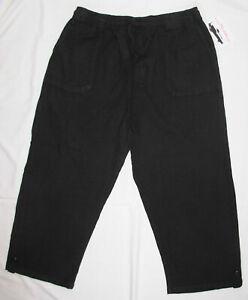 New-Black-Capris-Cropped-Pants-Womens-Size-L-Elastic-Waistband-Pockets-Cotton