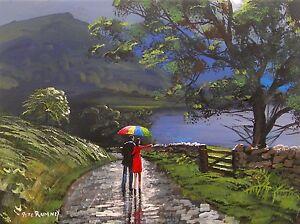 Pete-Rumney-Art-Original-Canvas-Painting-Lake-District-Couple-Umbrella-Rain-Walk