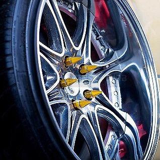 Claveteadas Oro Aleación forjado Rueda Tuercas Blox 60 mm M12x1.5 Encaja Honda Mazda Toyota