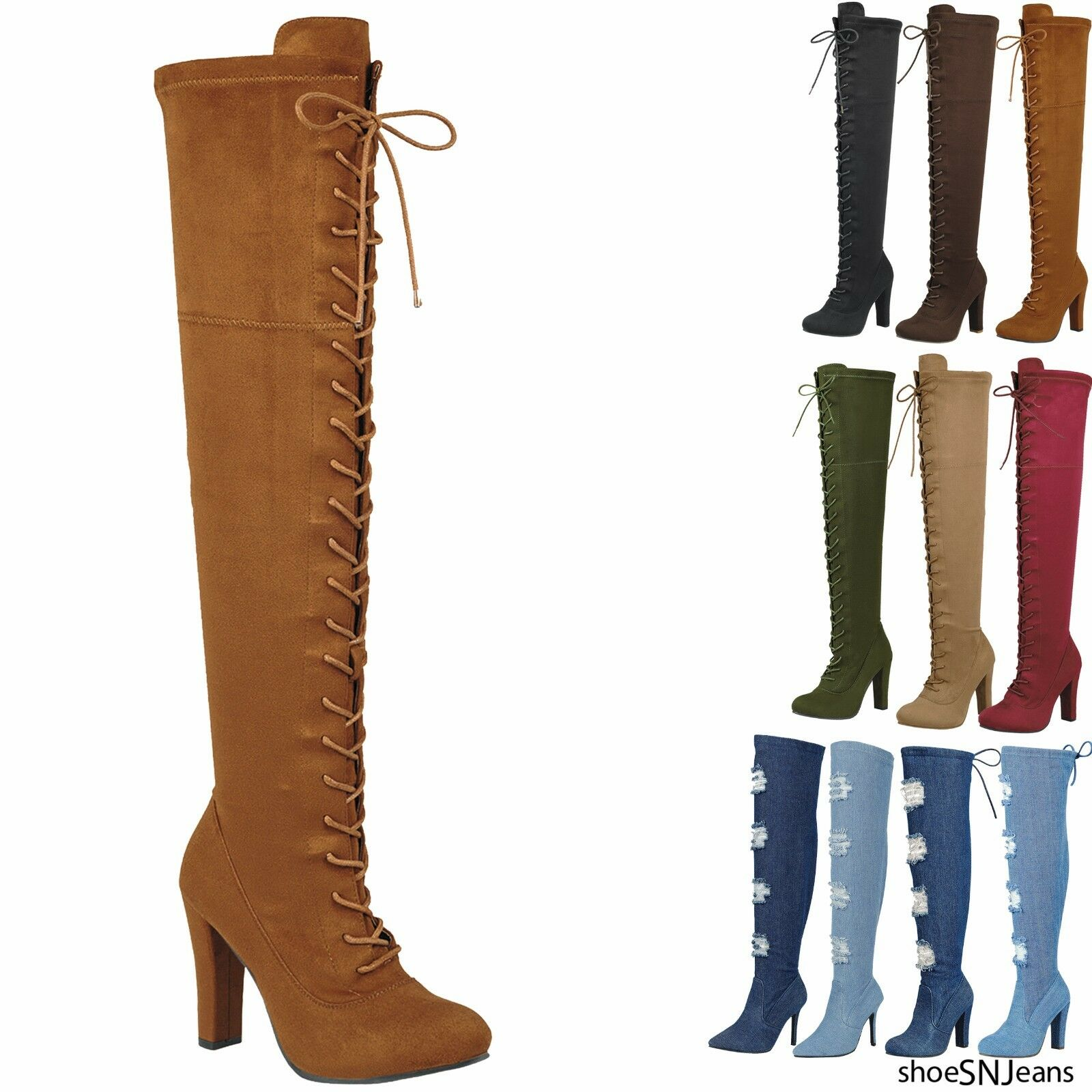 New Women Sexy Over Knee High Block Chunky Heel Thigh Back Lace Up Boots Shoes