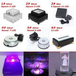 3D Crystal Glass Trophy Laser LED Battery Light Up Stand Lamp Base
