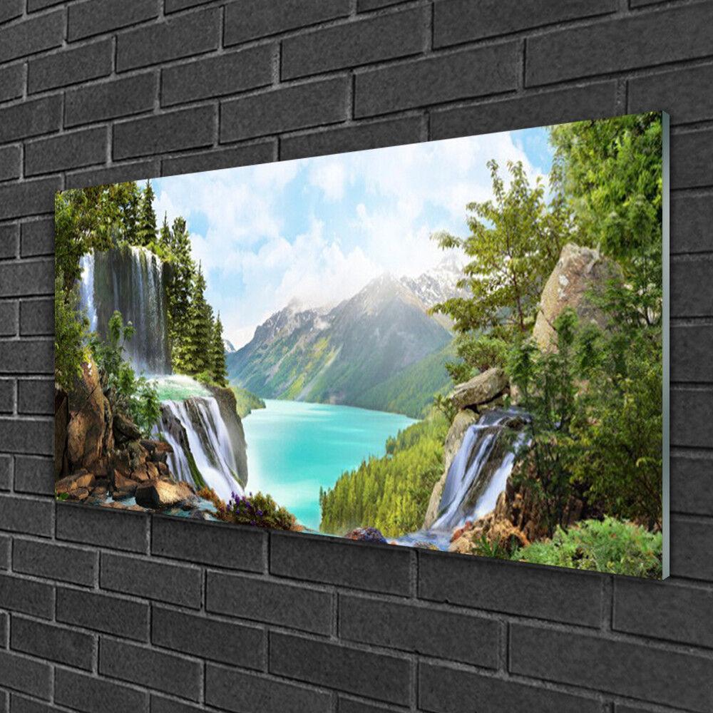 Image sur verre Tableau Impression 100x50 Nature Cascade Montagne Baie