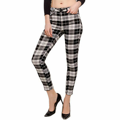 Ladies Women Button Checkered Pocket High Waist Skinny Bottoms Trousers UK 8-14