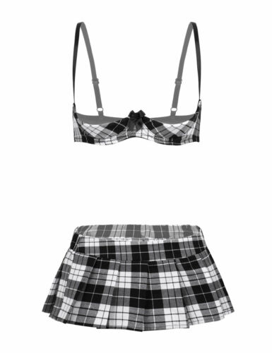 Details about  /2Pcs Womens Open Cup Bra Top Mini Skirt School Girl Cosplay Costume Lingerie Set