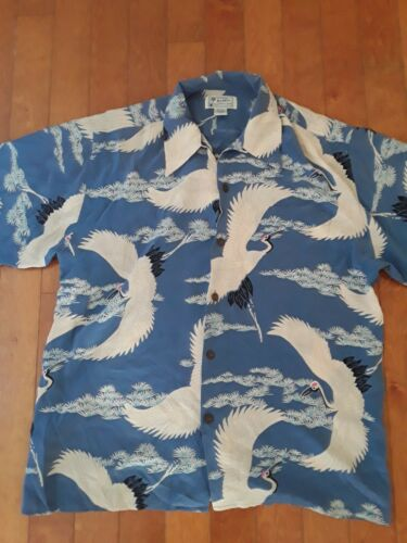 Men's AVANTI blue,white Crane Print Silk Shirt Haw