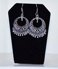 Silver Metal Round Hoop Dangle Earrings hook backings Handmade Jewelry India
