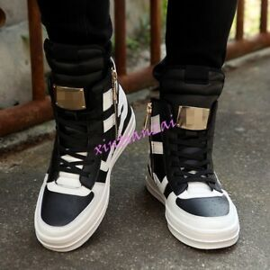 high top mens sneakers lace up faux leather sport side zip