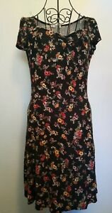 MNG-Floral-Print-Jersey-Dress-Size-M-Holiday-summer-casual-cute-pretty