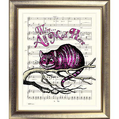 Alice in Wonderland ART PRINT ORIGINAL VINTAGE MUSIC SHEET Page CHESHIRE CAT OLD