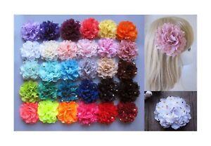 10cm-Girls-Chiffon-Gold-Polk-Dots-Flower-Hair-Clips-Grips-Slides-Bobbles-Pin