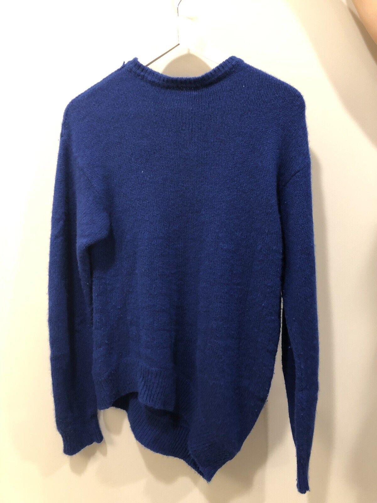 CELINE daMänner Sapphire Blau CASHMERE  Crewneck Lange Sleeve Sweater M