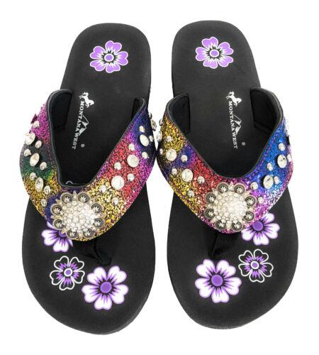 Montana West Flip Flops Sandal Crackle Texture Crystals Floral Concho