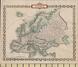 Map Of England France And Spain.C1860 Victorian Map Europe England Ireland France Spain Italy