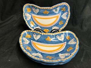 Image is loading Solimene-Vietri-Italy-Set-of-3-Crescent-Plates- & Solimene Vietri Italy ~ Set of 3 ~ Crescent Plates ~ Blue Chick ~ 9 ...