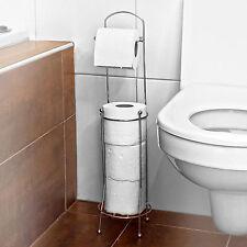 4 ROLL FREE STANDING TOILET PAPER TISSUE CHROME DISPENSER STORAGE HOLDER STAND