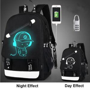 34de7c7f32b3 Details about Night Luminous Backpack Boys Girls USB Bookbag Cool School  Bag Shoulder Bags