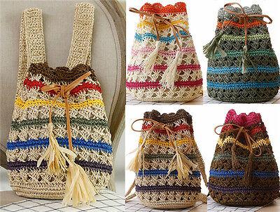 Handmade vintage string drawstring women knitted shoulder bag backpack handbag