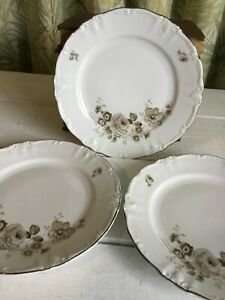 3 VTG Winterling Bavaria Grand Black Rose Platinum Trim Germany EUC Salad Plate