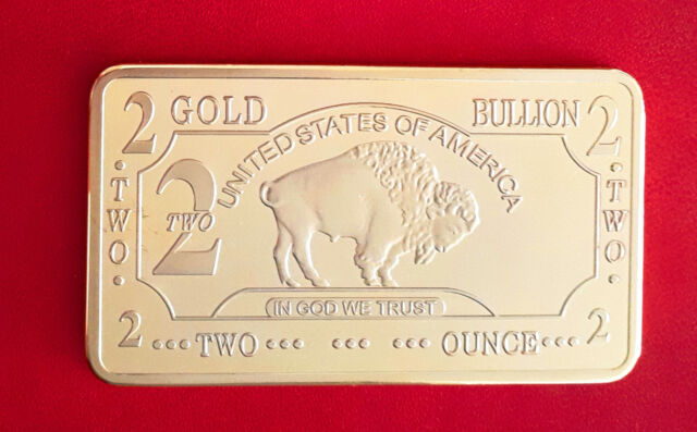 Lingot 2 oz OR .999 plaqué 100 mills Buffalo Bison Gold Bullion