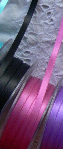 Doble cara cinta de raso 6 mmwide 3 /& 5 metros largos 13 Color Elección gtara BL7