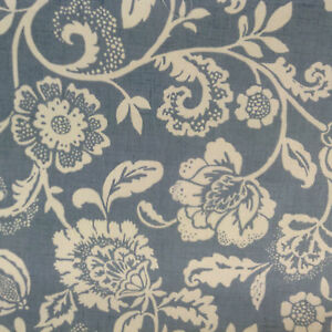 Heritage-Floral-Garden-Blue-Cotton-Curtain-Craft-Fabric