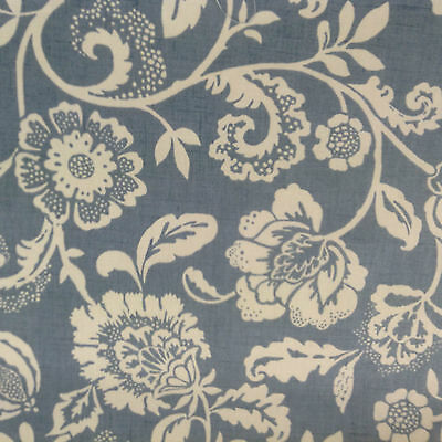 Heritage Floral Garden  Blue Cotton Curtain/Craft Fabric